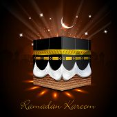 View of Qaba Shareef in shiny moonlight and stars background for Ramadan Kareem. poster