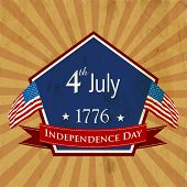 Vintage badge for 4th of July, American Independence Day. poster