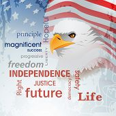 4th of July, American Independence Day background with national bird eagle on waving flag background. poster