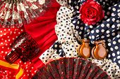 Espana typical from Spain with castanets rose fan and flamenco comb and dress poster