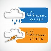 Monsoon offer and sale stickers, tags and labels with clouds. poster