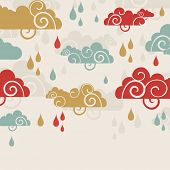 Creative rainy season background with clouds and raindrops. poster