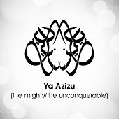 Arabic Islamic calligraphy of dua(wish) Ya Azizu ( the mighty/ the unconquerable) on abstract grey background. poster