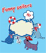 Card with funny scottish terrier dogs - sailors anchor lifebuoy and empty frame for text poster