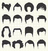 Collection of retro style men's hairstyle silhouettes poster