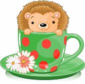 Cute hedgehog in tea cup. Vector illustration poster