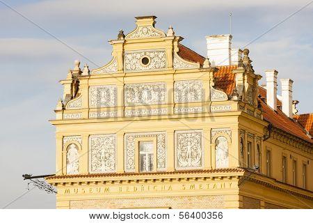 close up of Lavka building, Prague, Czech Republic