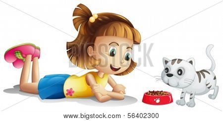 Illustration of a young girl watching her pet eating on a white background