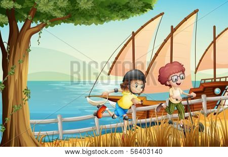 Illustration of the kids at the riverside with a rollerskate and a scooter