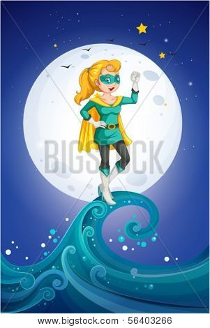 Illustration of a female superhero near the fullmoon