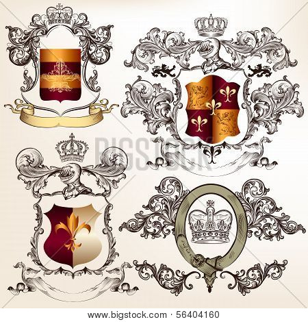 Vector Set Of Detailed Heraldic Design With Coat Of Arms And Shield