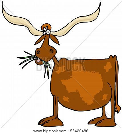 This illustration depicts a cow with giant horns and a pattern of the state of Texas on its side. poster