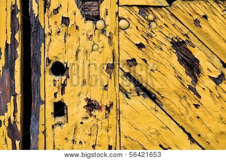 Old Yellow Wooden Door