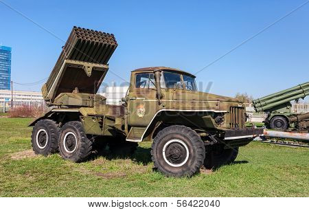 Togliatti, Russia - May 2, 2013: Bm-21 Grad 122-mm Multiple Rocket Launcher On Ural-375D Chassis In
