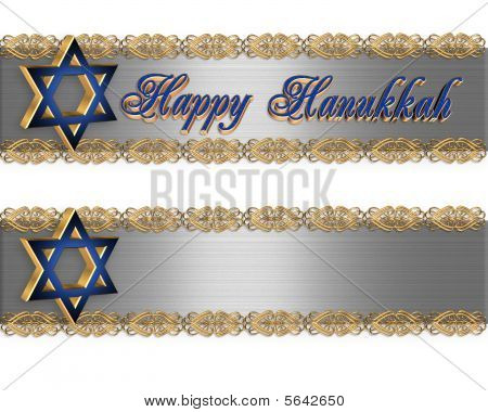 Jewish Star Borders Happy Hanukkah