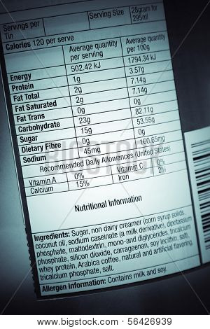 Nutrition information facts on food label