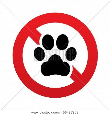 No Dog paw icon. Pets symbol. Prohibition sign.