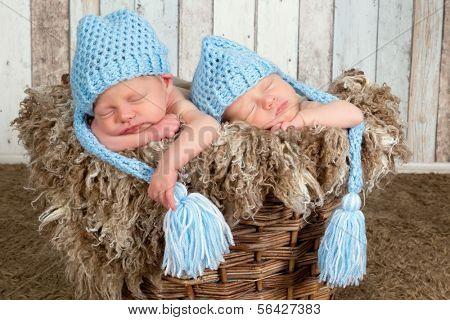 Ten days old newborn twin babies asleep together