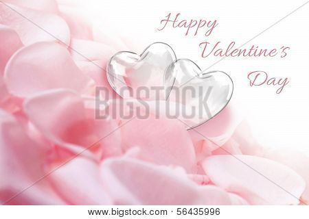 Rose Petals with Glass Hearts