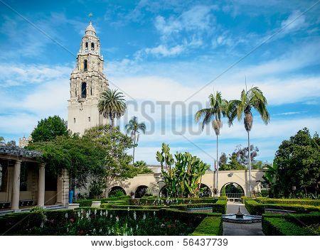 Balboa Park San Diego, California USA, Bell Tower and Garden