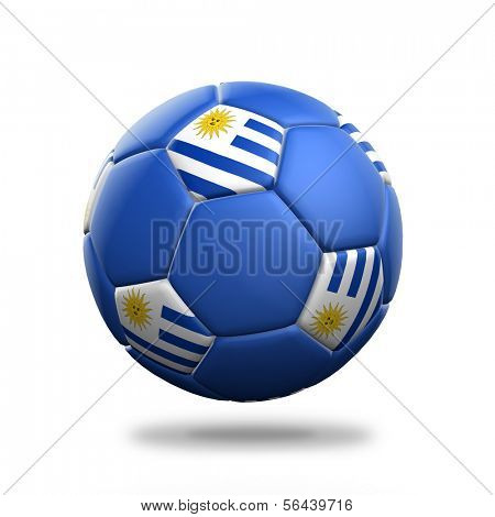 Uruguay soccer ball isolated white background