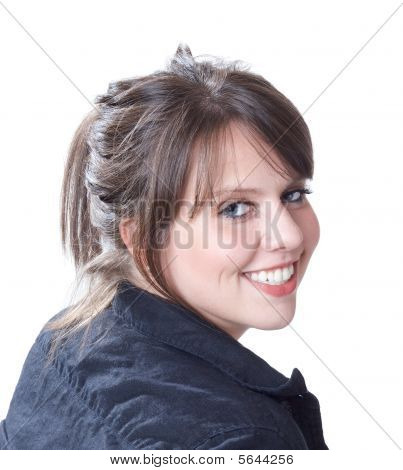 Over the right shoulder young woman portrait