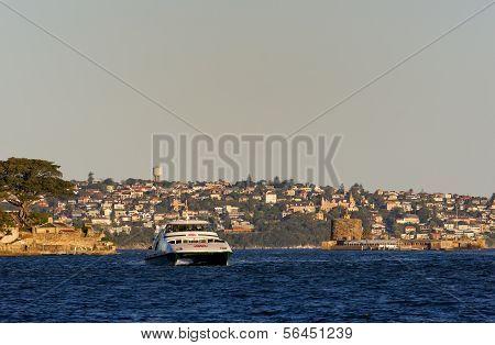 Ferry passes Fort Denison in Sydney Harbour