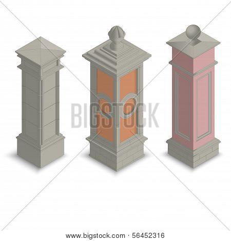 Gate pillars isometric
