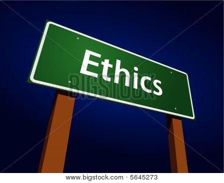 Ethics Green Road Sign Illustration