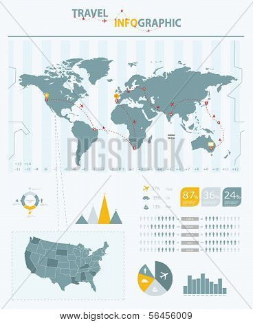 Travel infographic elements.