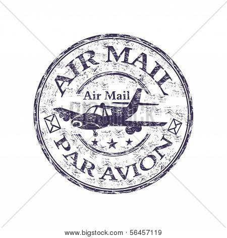 Air mail grunge rubber stamp