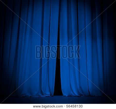 theater stage blue curtain with spotlight background