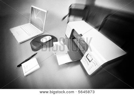 Printer And Laptop In Black And White