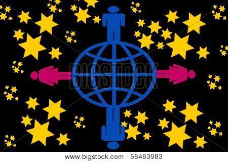 man,woman,earth and stars