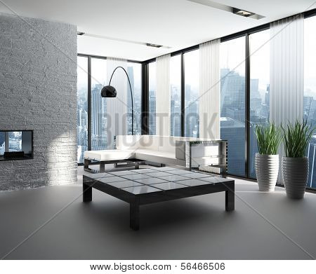 A 3D rendering of modern living room interior