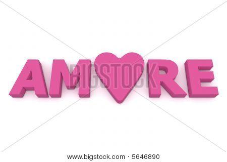 Amore com coração em rosa/roxo