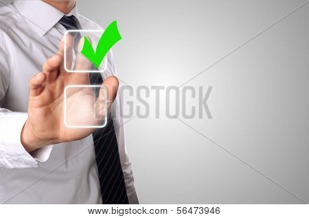 Businessman Click One Option