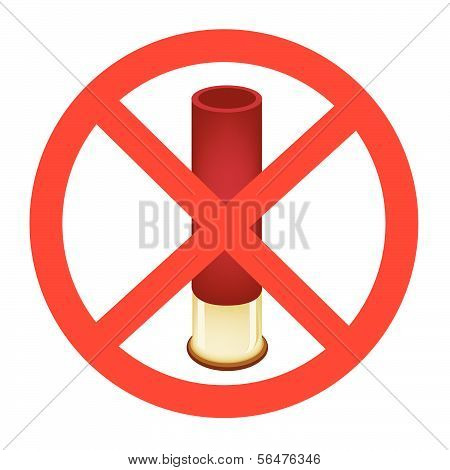 Bullet And The Forbidden Sign On White Background