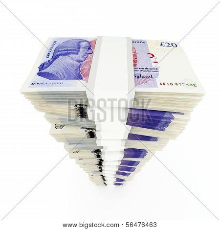 British pound sterling stack