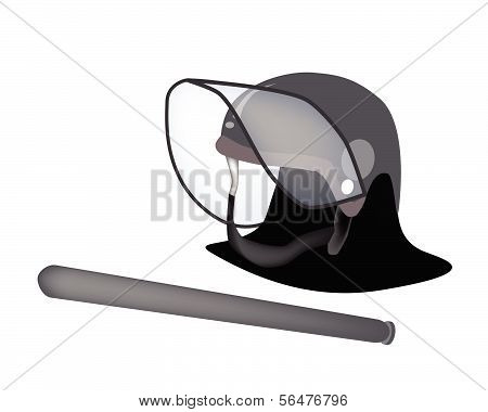 Police Helmet And Nightstick