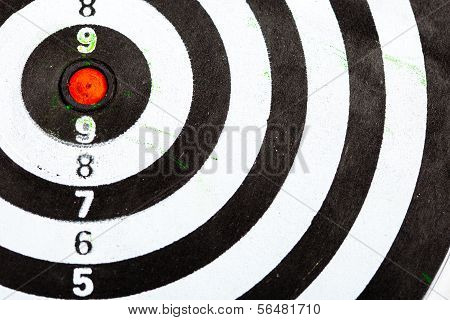 Closeup Of Old Dirty Black And White Target As Sport Background