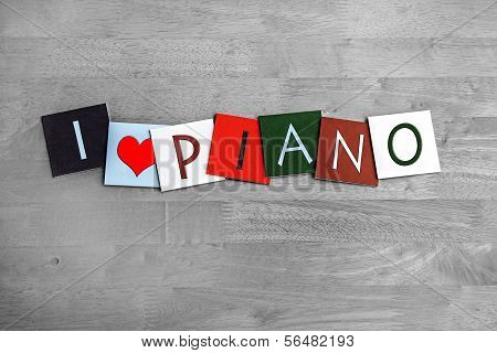 I Love Piano, Sign Series For Music, Gigs, Bands And Orchestra