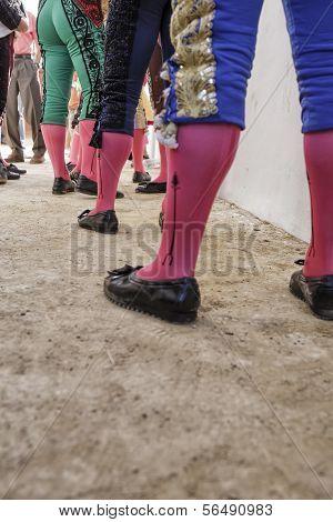 Bullfighters at the paseillo or initial parade Bullfight at Baeza