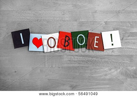 I Love Oboe, Sign Series For Music, Musical Instruments, Orchestra.