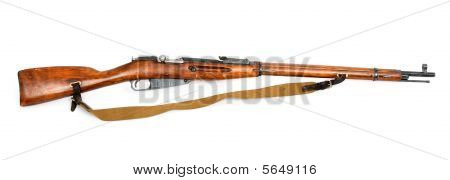 antique russian mosin's rifle. Isolated on white poster
