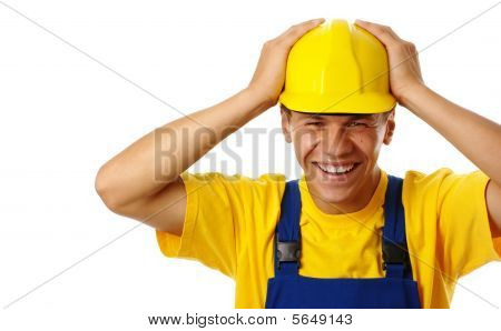 Happy Young Worker Put His Hands On Hard Hat