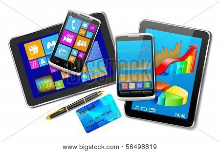 Office And Home Tablet Computers, Mobile Phones Of Different Generations, Bank Card And Pen On White