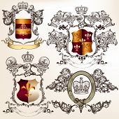 Collection of heraldic shield in vintage style for design poster
