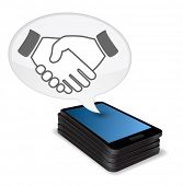 hand shaking in speech bubble and smartphone icon poster