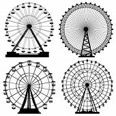 Set of vector silhouettes Ferris Wheel from amusement park. poster